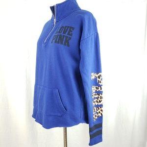 Pink Victoria's Secret Blue Quarter Zip Pullover